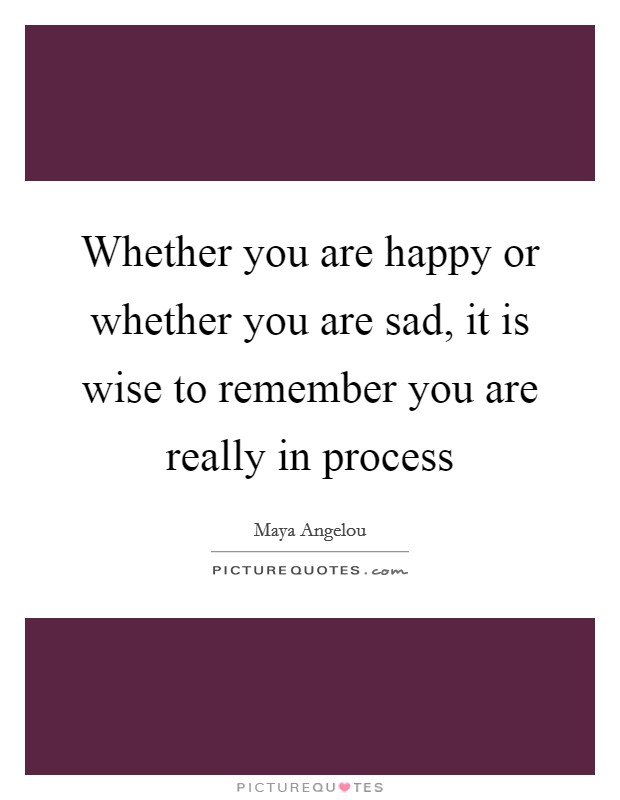 Whether you are happy or whether you are sad, it is wise to remember you are really in process Picture Quote #1