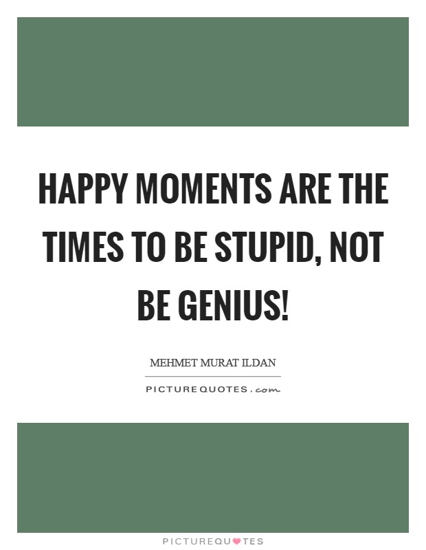 Happy moments are the times to be stupid, not be genius! Picture Quote #1