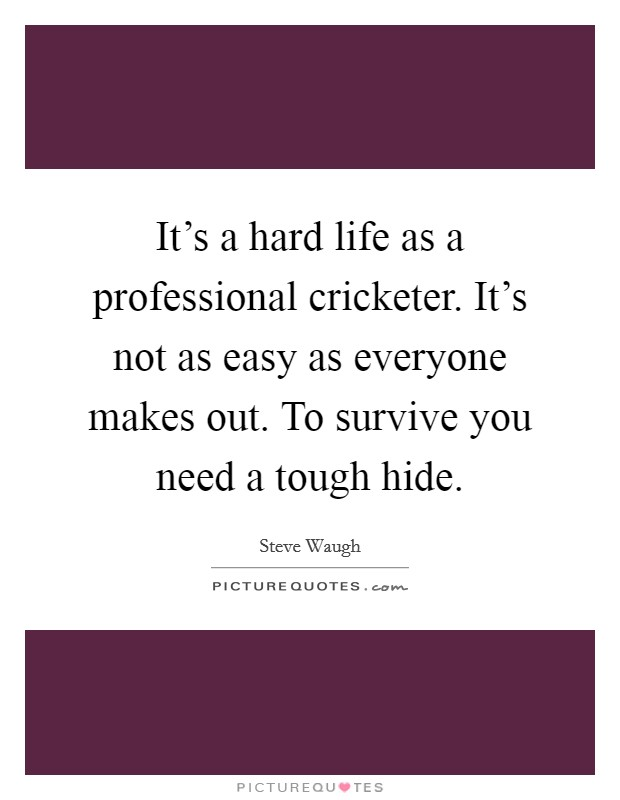 It's a hard life as a professional cricketer. It's not as easy as everyone makes out. To survive you need a tough hide Picture Quote #1