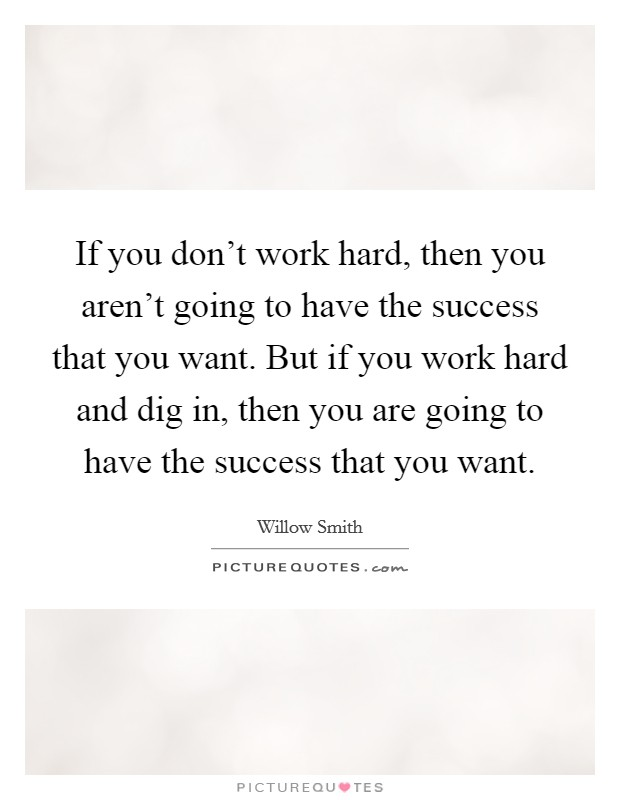 If you don't work hard, then you aren't going to have the success that you want. But if you work hard and dig in, then you are going to have the success that you want Picture Quote #1