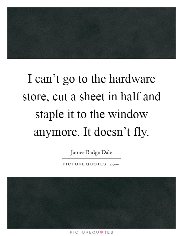 I can't go to the hardware store, cut a sheet in half and staple it to the window anymore. It doesn't fly Picture Quote #1