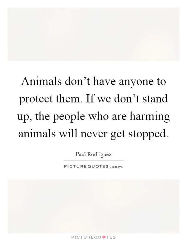 Animals don't have anyone to protect them. If we don't stand up, the people who are harming animals will never get stopped Picture Quote #1