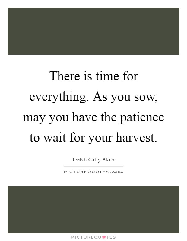 There is time for everything. As you sow, may you have the patience to wait for your harvest Picture Quote #1