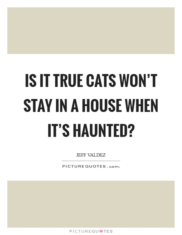 Is it true cats won't stay in a house when it's haunted? Picture Quote #1