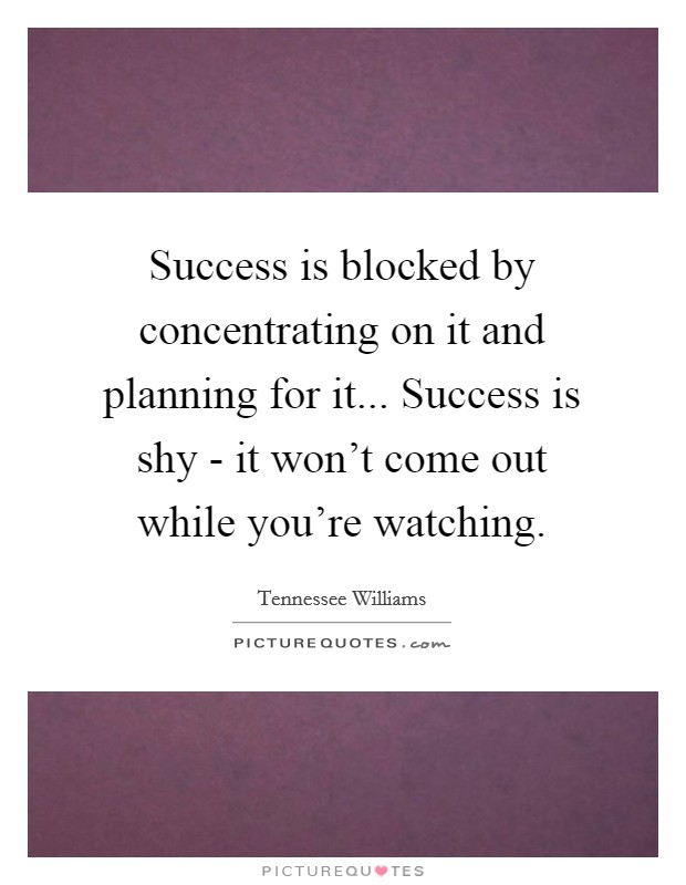 Success is blocked by concentrating on it and planning for it... Success is shy - it won't come out while you're watching Picture Quote #1