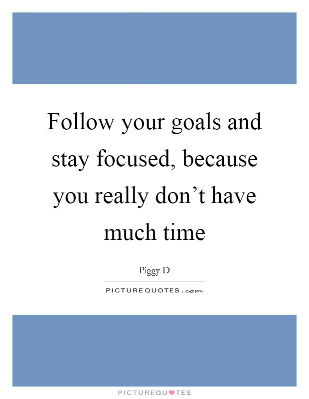 Follow your goals and stay focused, because you really don't have much time Picture Quote #1