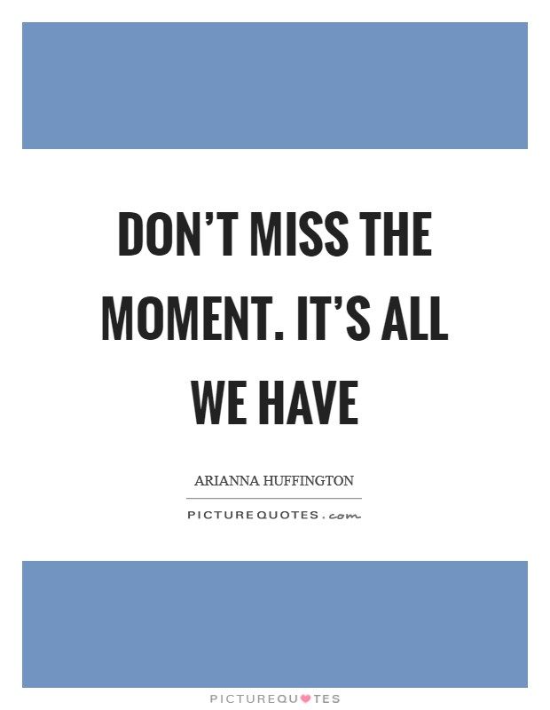 Don't miss the moment. It's all we have Picture Quote #1