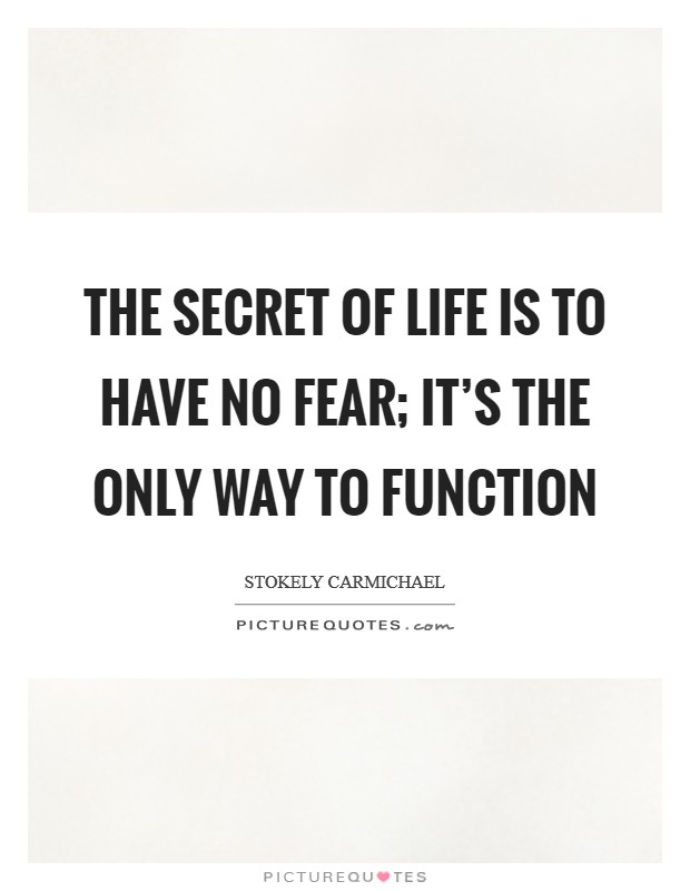 The secret of life is to have no fear; it's the only way to function Picture Quote #1