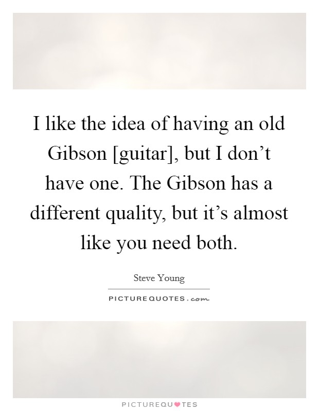 I like the idea of having an old Gibson [guitar], but I don't have one. The Gibson has a different quality, but it's almost like you need both Picture Quote #1