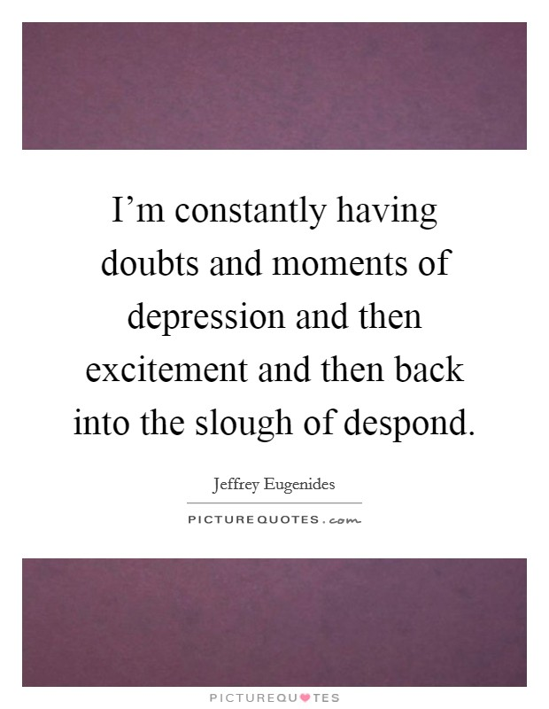 I'm constantly having doubts and moments of depression and then excitement and then back into the slough of despond Picture Quote #1