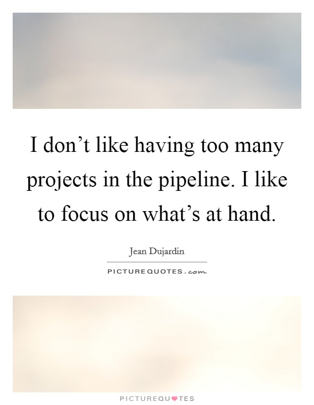 I don't like having too many projects in the pipeline. I like to focus on what's at hand Picture Quote #1