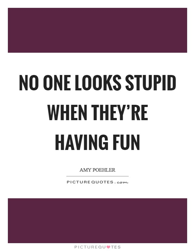 No one looks stupid when they're having fun Picture Quote #1
