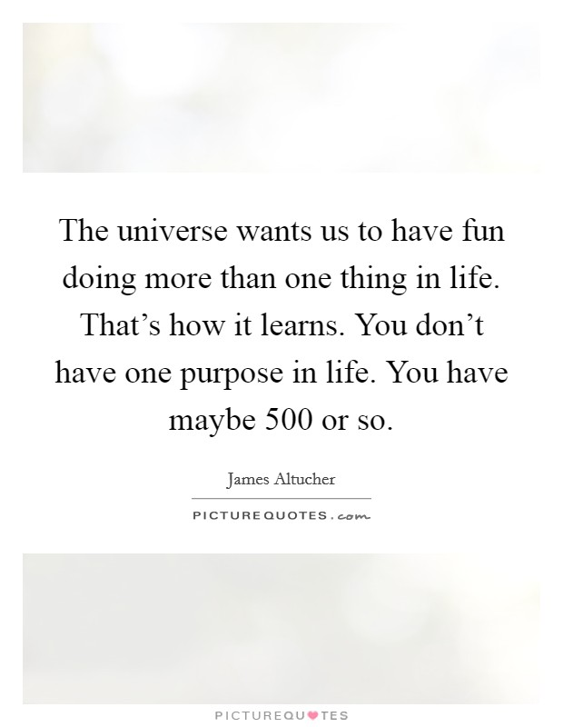 The universe wants us to have fun doing more than one thing in life. That's how it learns. You don't have one purpose in life. You have maybe 500 or so Picture Quote #1