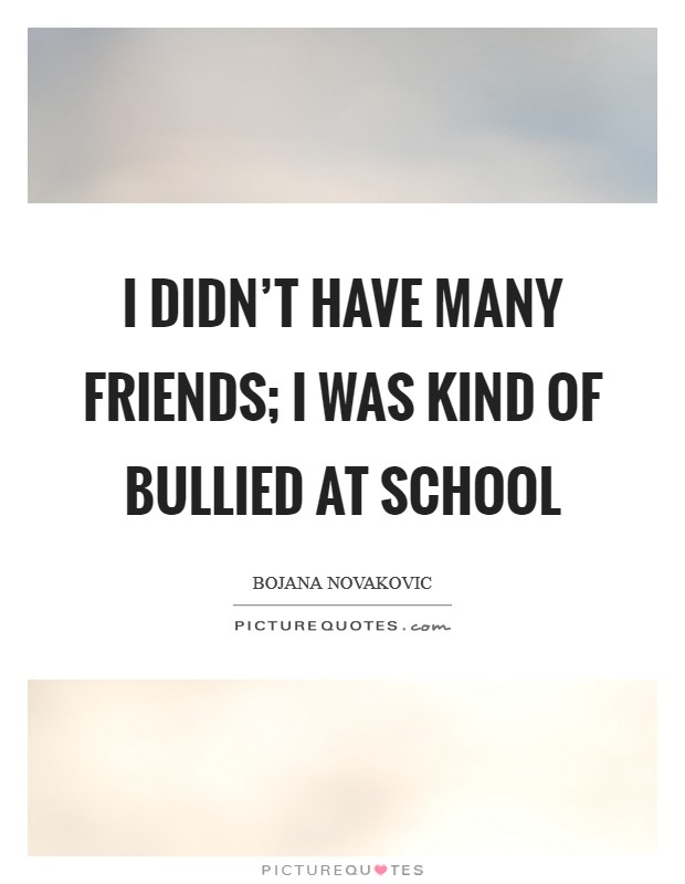 I didn't have many friends; I was kind of bullied at school Picture Quote #1