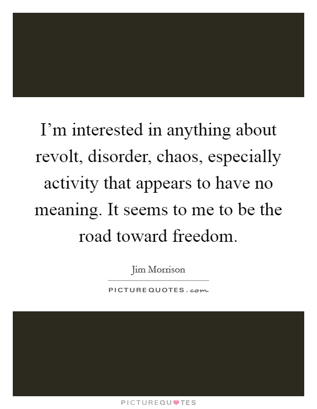 I'm interested in anything about revolt, disorder, chaos, especially activity that appears to have no meaning. It seems to me to be the road toward freedom Picture Quote #1