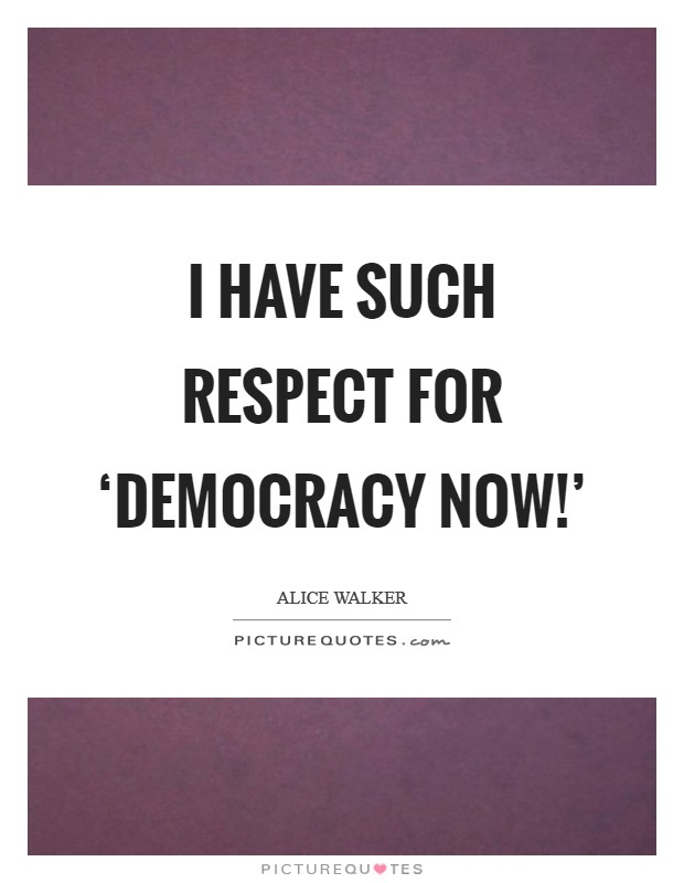 I have such respect for 'Democracy Now!' Picture Quote #1