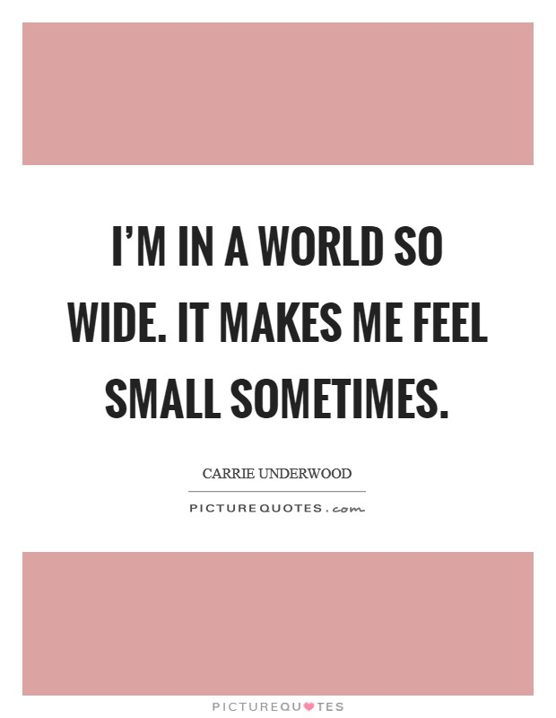 I'm in a world so wide. It makes me feel small sometimes Picture Quote #1