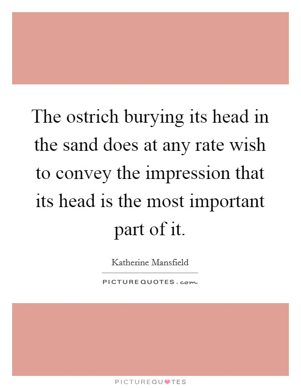 The ostrich burying its head in the sand does at any rate wish to convey the impression that its head is the most important part of it Picture Quote #1
