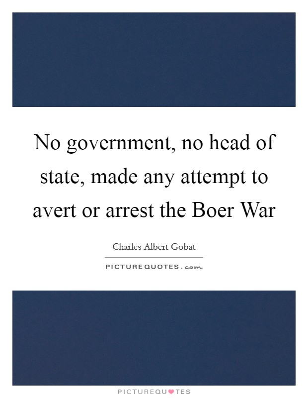 No government, no head of state, made any attempt to avert or arrest the Boer War Picture Quote #1