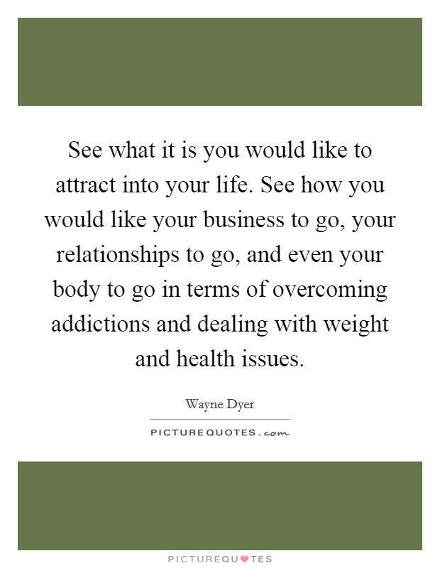 See what it is you would like to attract into your life. See how you would like your business to go, your relationships to go, and even your body to go in terms of overcoming addictions and dealing with weight and health issues Picture Quote #1