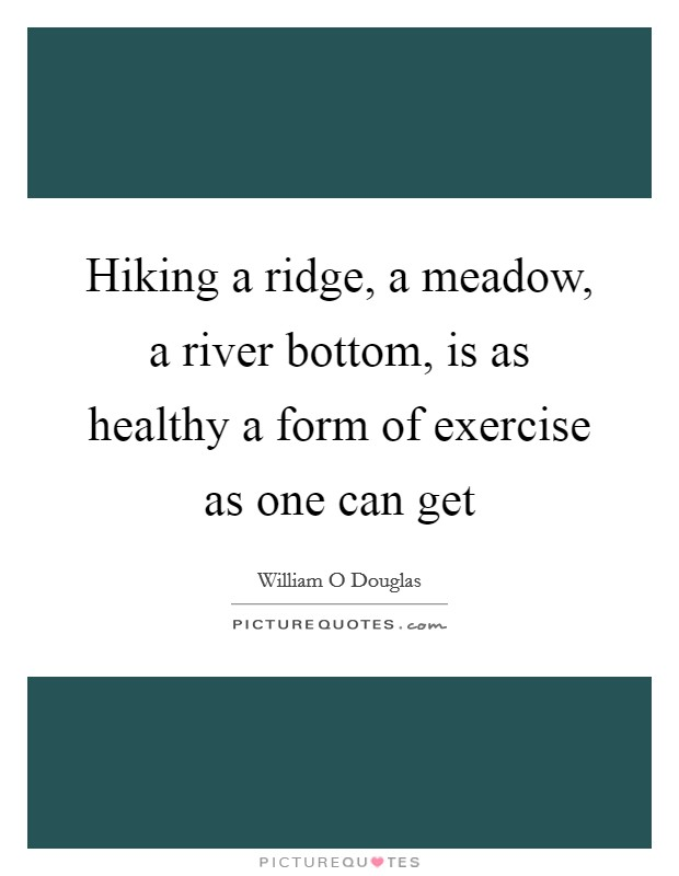 Hiking a ridge, a meadow, a river bottom, is as healthy a form of exercise as one can get Picture Quote #1