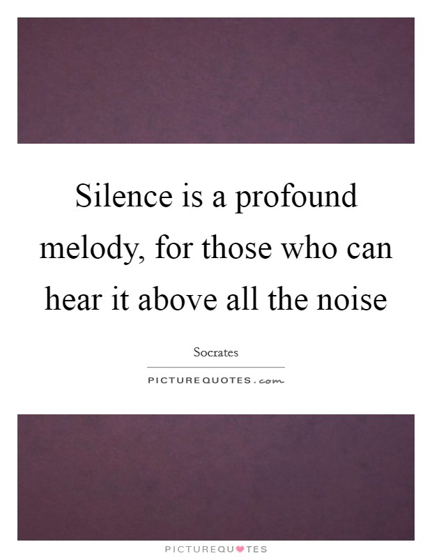 Silence is a profound melody, for those who can hear it above all the noise Picture Quote #1