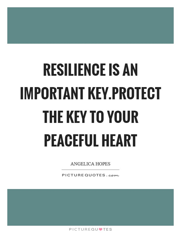 Resilience is an important key.Protect the key to your peaceful heart Picture Quote #1