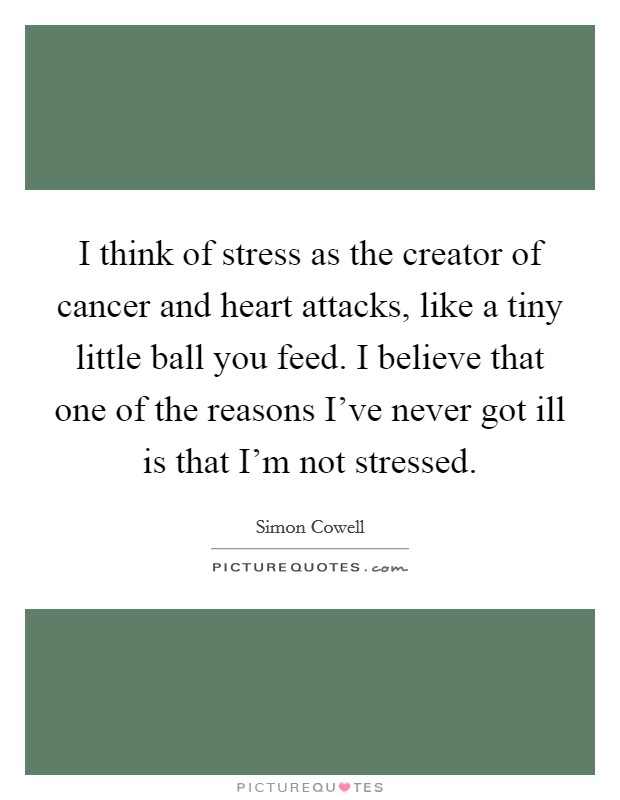 I think of stress as the creator of cancer and heart attacks, like a tiny little ball you feed. I believe that one of the reasons I've never got ill is that I'm not stressed Picture Quote #1