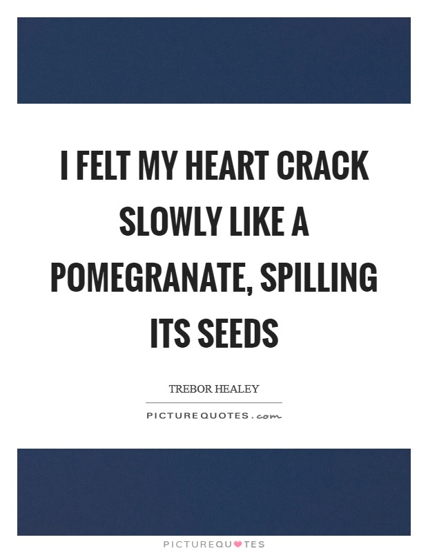 I felt my heart crack slowly like a pomegranate, spilling its seeds Picture Quote #1
