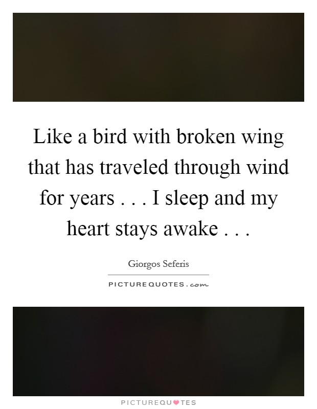 Like a bird with broken wing that has traveled through wind for years . . . I sleep and my heart stays awake . .  Picture Quote #1