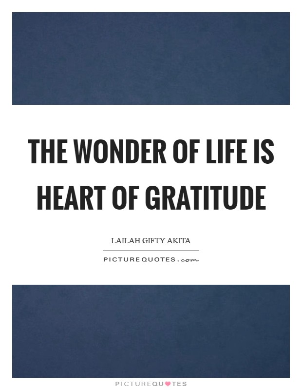 The wonder of life is heart of gratitude Picture Quote #1