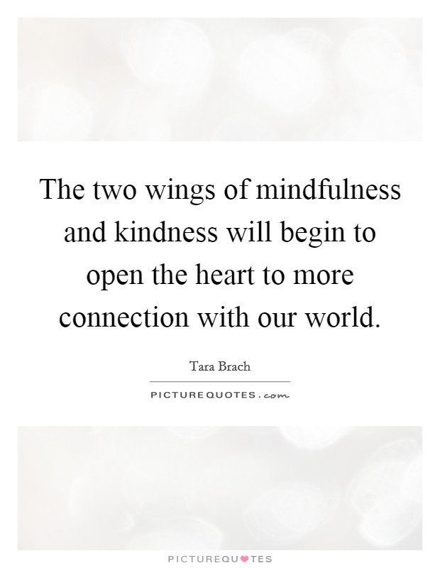 The two wings of mindfulness and kindness will begin to open the heart to more connection with our world Picture Quote #1