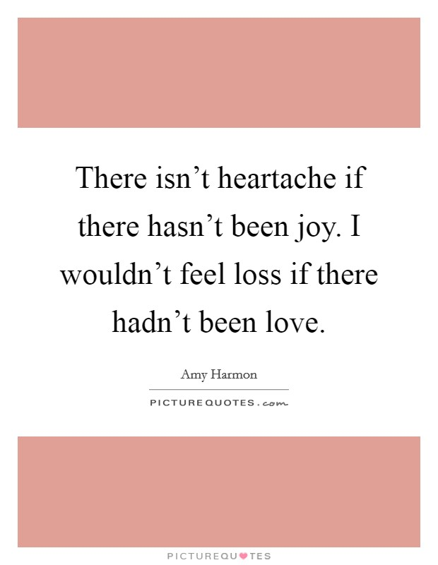 There isn't heartache if there hasn't been joy. I wouldn't feel loss if there hadn't been love. Picture Quote #1