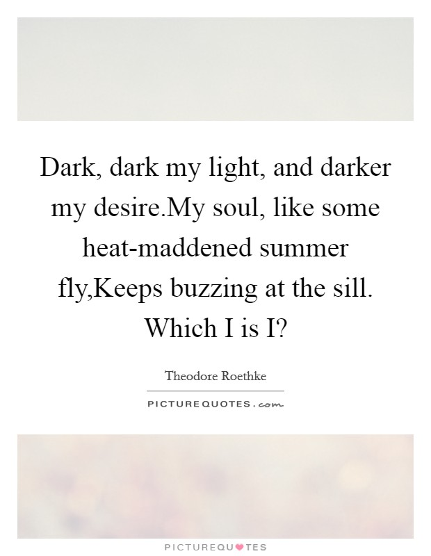 Dark, dark my light, and darker my desire.My soul, like some heat-maddened summer fly,Keeps buzzing at the sill. Which I is I? Picture Quote #1
