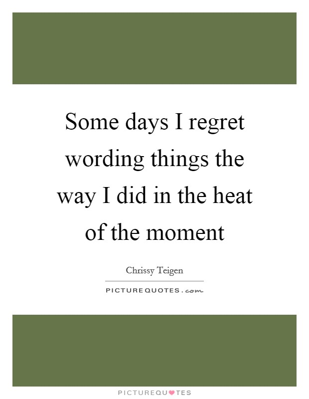 Some days I regret wording things the way I did in the heat of the moment Picture Quote #1