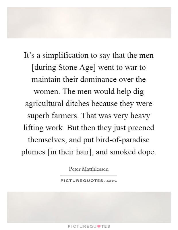 It's a simplification to say that the men [during Stone Age] went to war to maintain their dominance over the women. The men would help dig agricultural ditches because they were superb farmers. That was very heavy lifting work. But then they just preened themselves, and put bird-of-paradise plumes [in their hair], and smoked dope. Picture Quote #1