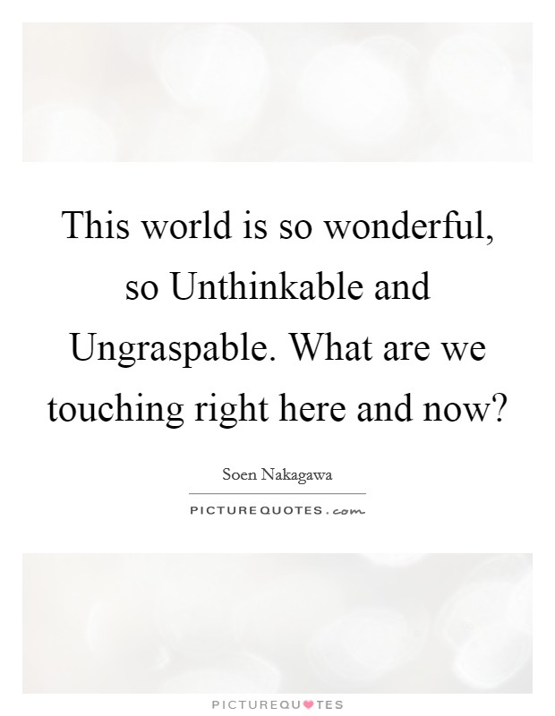 This world is so wonderful, so Unthinkable and Ungraspable. What are we touching right here and now? Picture Quote #1
