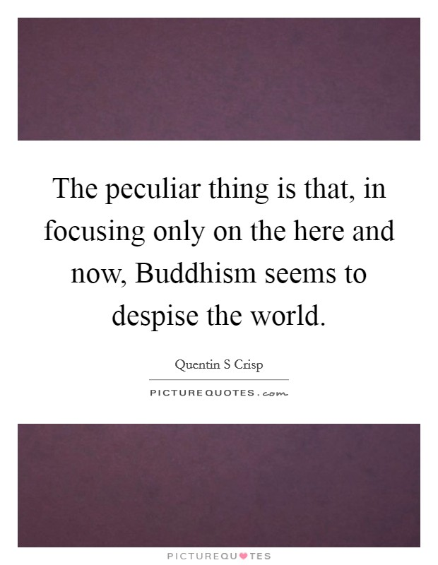 The peculiar thing is that, in focusing only on the here and now, Buddhism seems to despise the world Picture Quote #1
