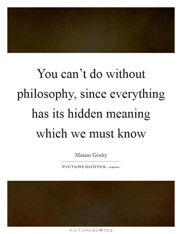You can't do without philosophy, since everything has its hidden meaning which we must know Picture Quote #1