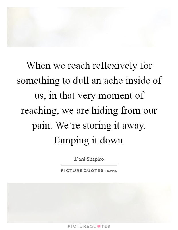 When we reach reflexively for something to dull an ache inside of us, in that very moment of reaching, we are hiding from our pain. We're storing it away. Tamping it down Picture Quote #1