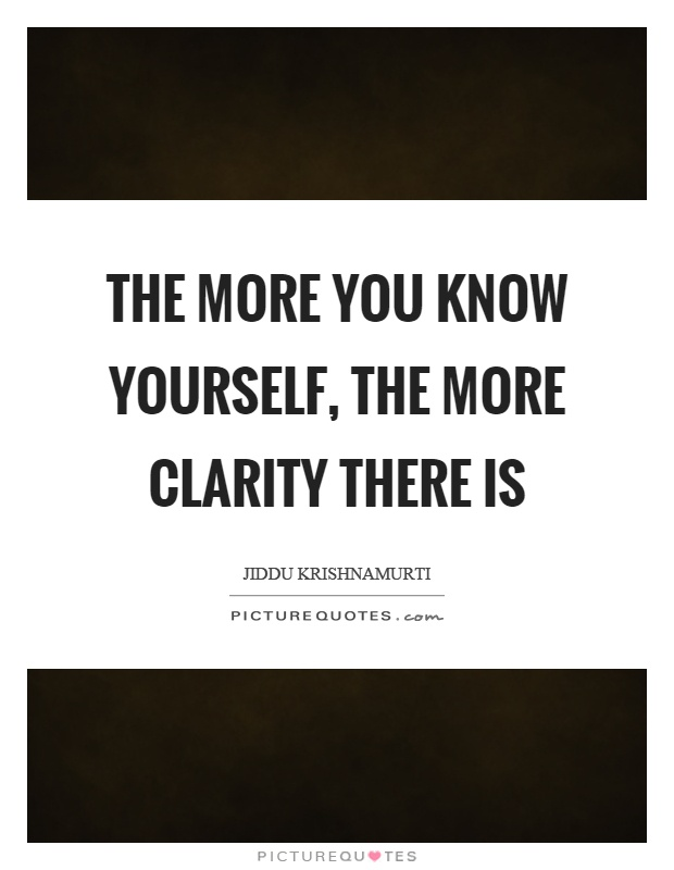 The More You Know Yourself The More Clarity There Is Picture Quotes