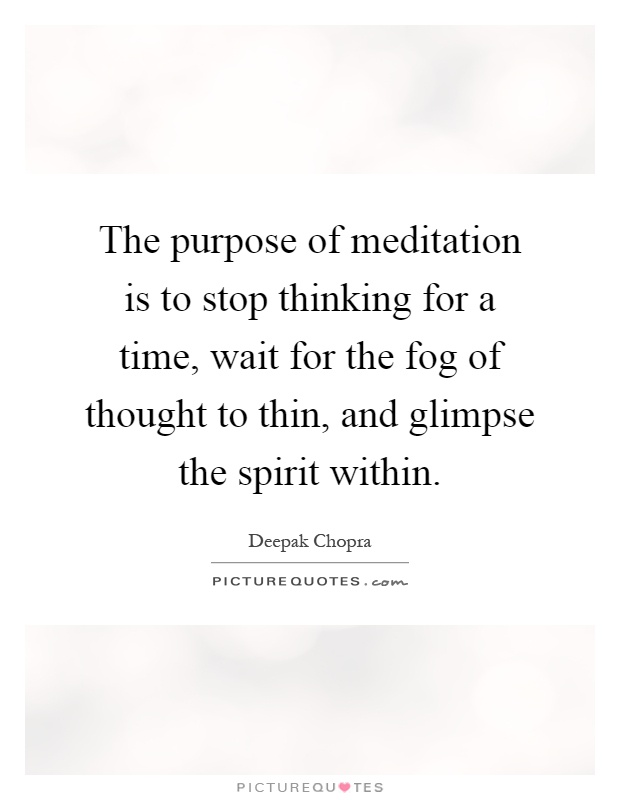 The purpose of meditation is to stop thinking for a time ...